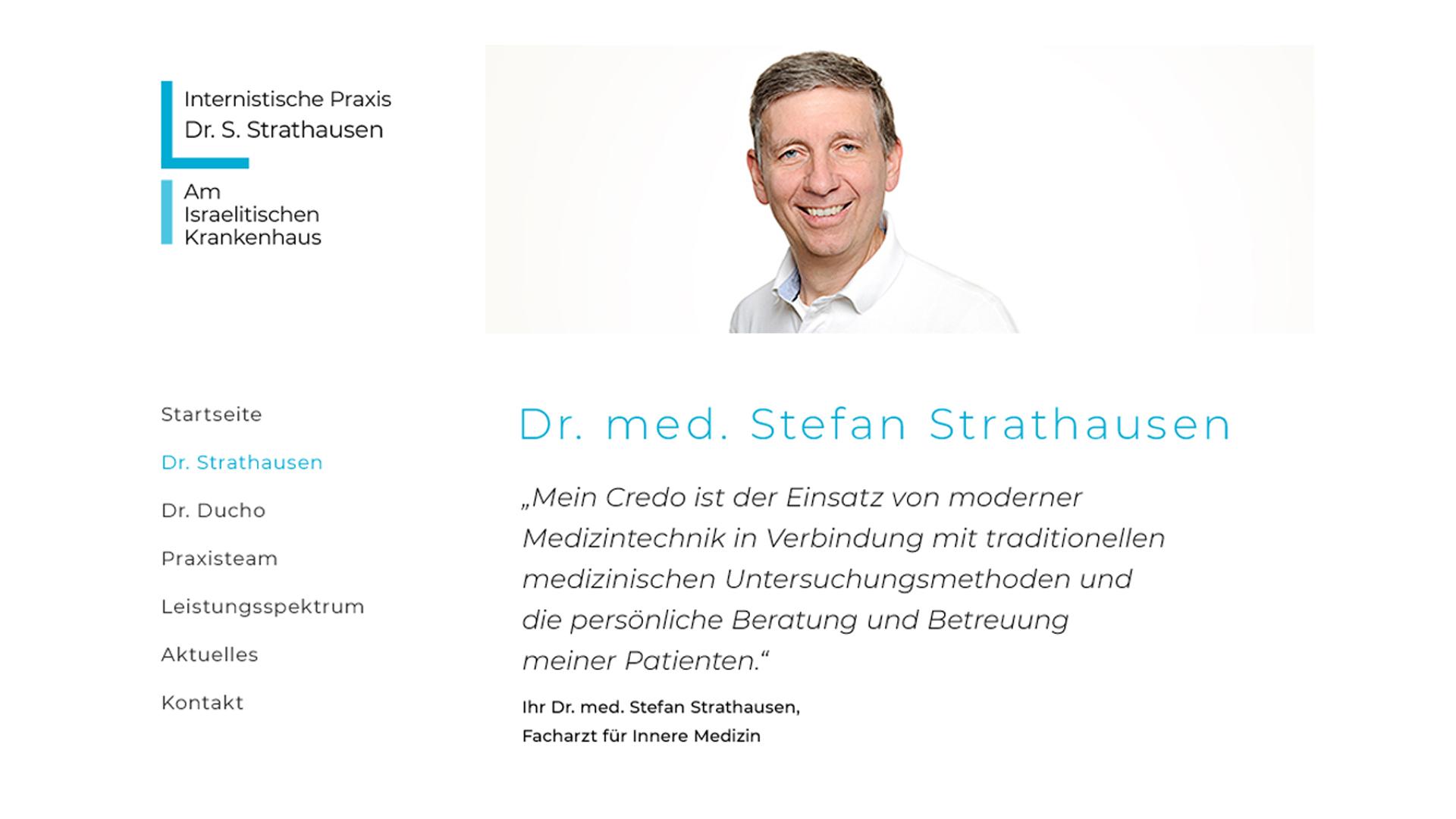 Webdesign für Hamburger Arztpraxis Dr. med. Stefan Strathausen