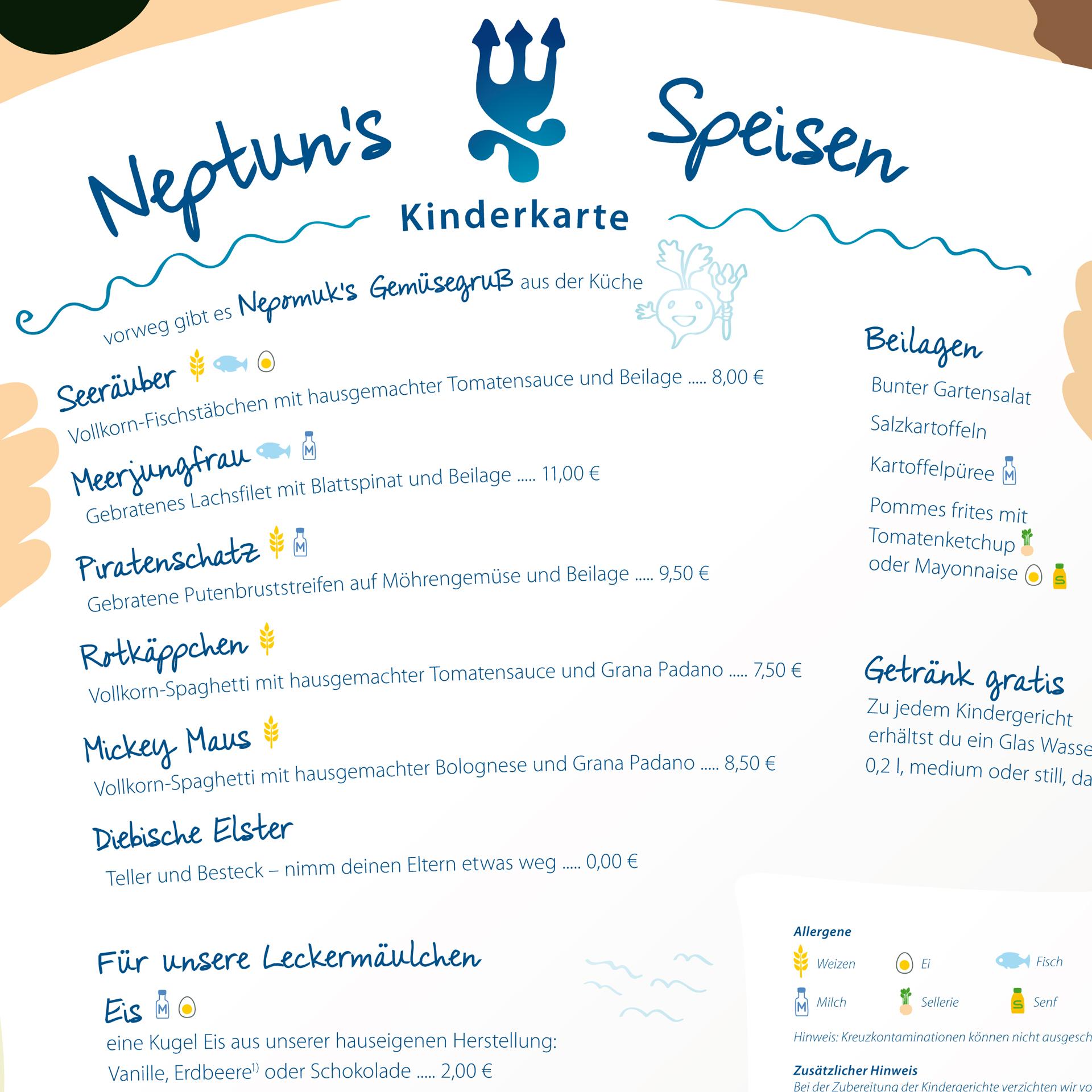 Ausschnitt der Kinderspeisekarte mit Illustrationen für Icons der Allergene