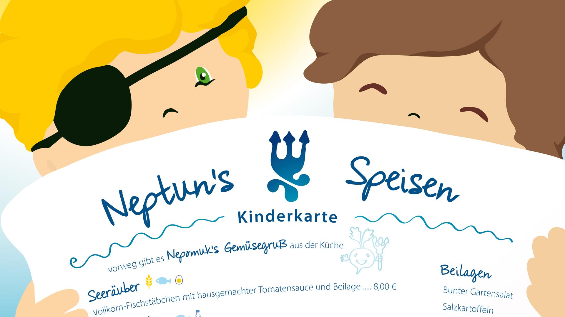 Neuauflage der Kinderspeisekarte des Hotel Neptuns mit Entwurf und Illustration