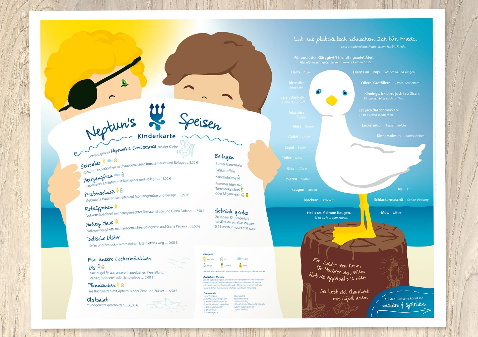 Illustration Kinderspeisekarte mit gesunden Gerichten und Darstellung der Allergene