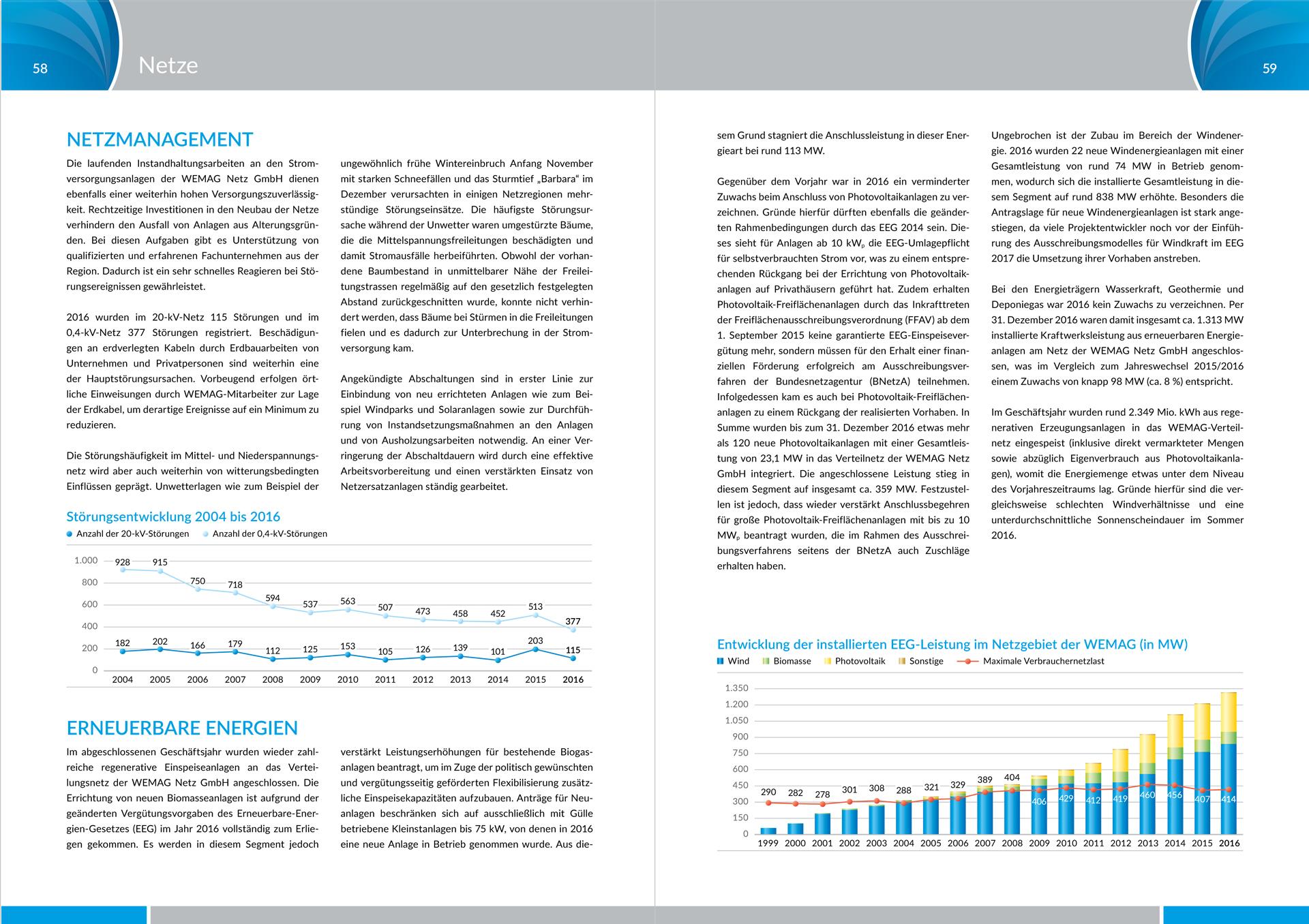 WEMAG AG Geschäftsbericht 2016 – Design von Diagrammen im Kapitel Netze, Netzmanagement