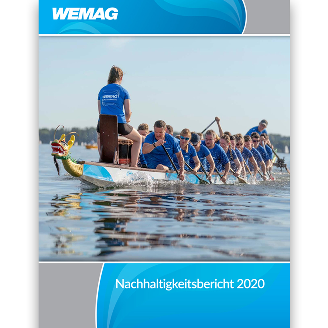 Titellayout des Nachhaltigkeitsberichts 2020 der WEMAG AG