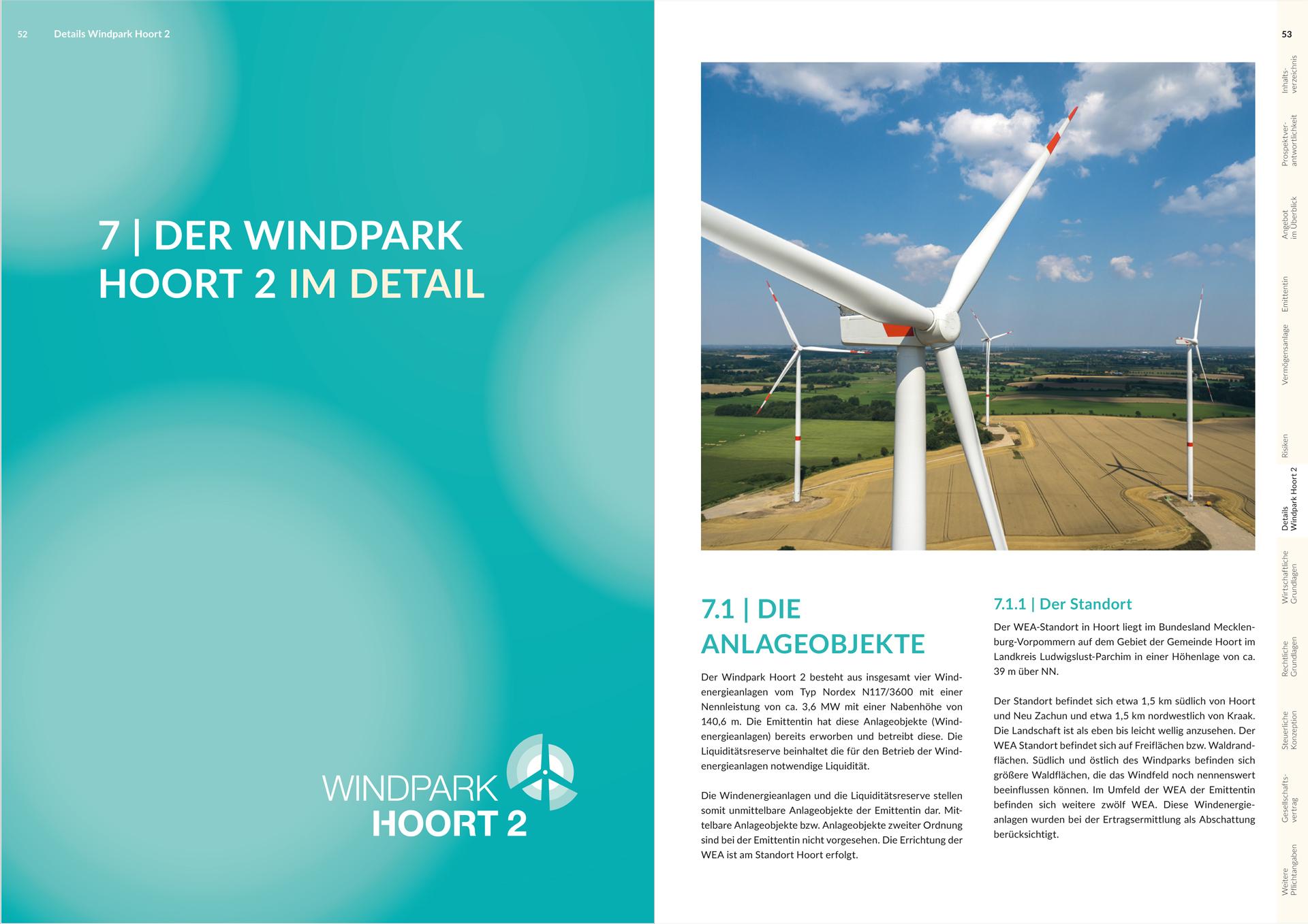 Design des Verkaufsprospekts für einen Windpark