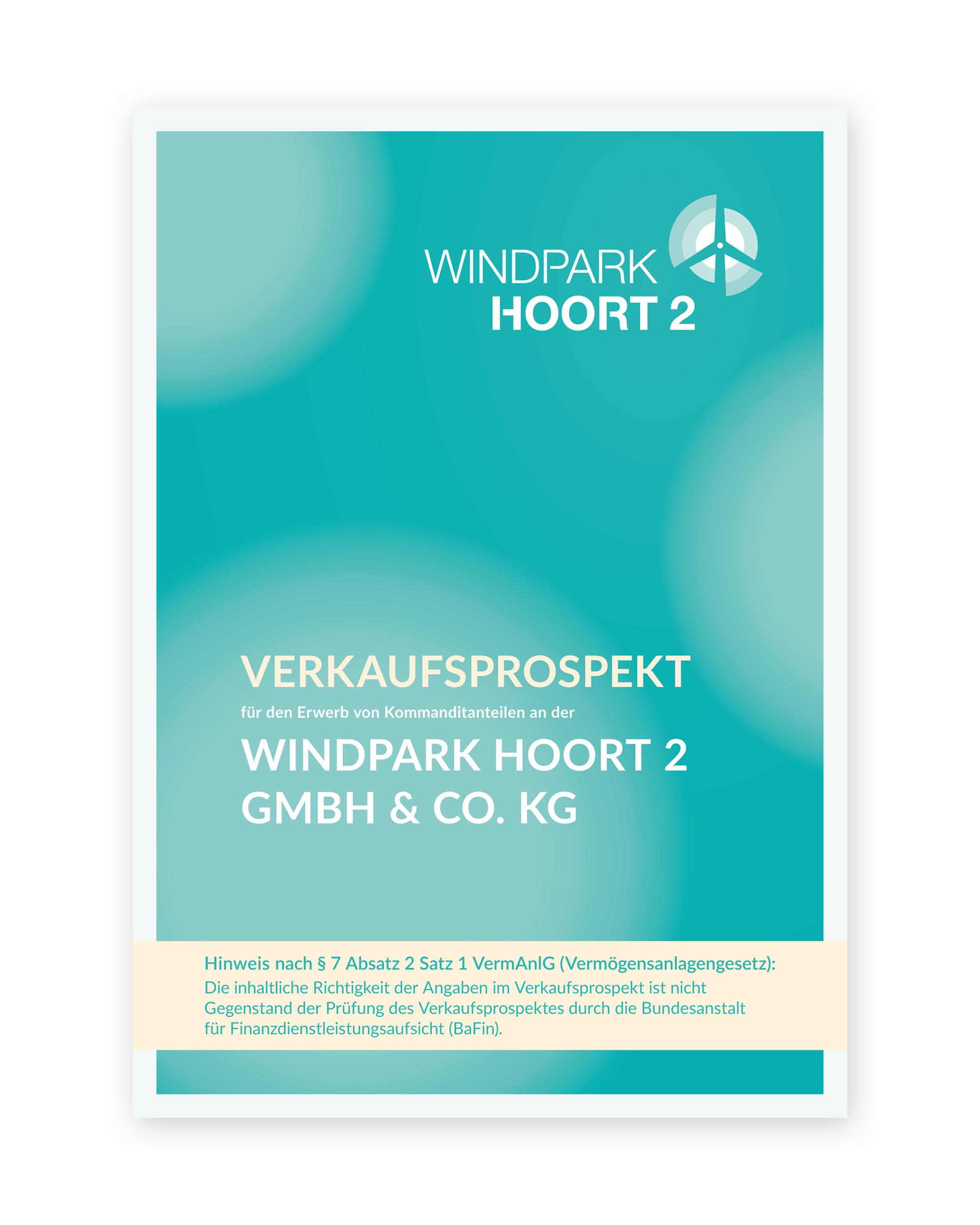 Design des Verkaufsprospekts der Windpark Hoort 2 GmbH & Co. KG