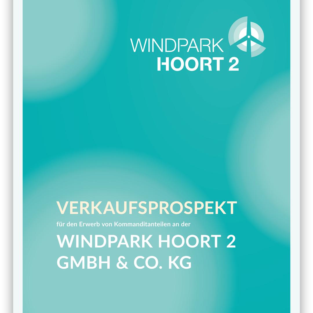 Ausschnitt des Titels des Verkaufsprospekts für den Windpark Hoort 2