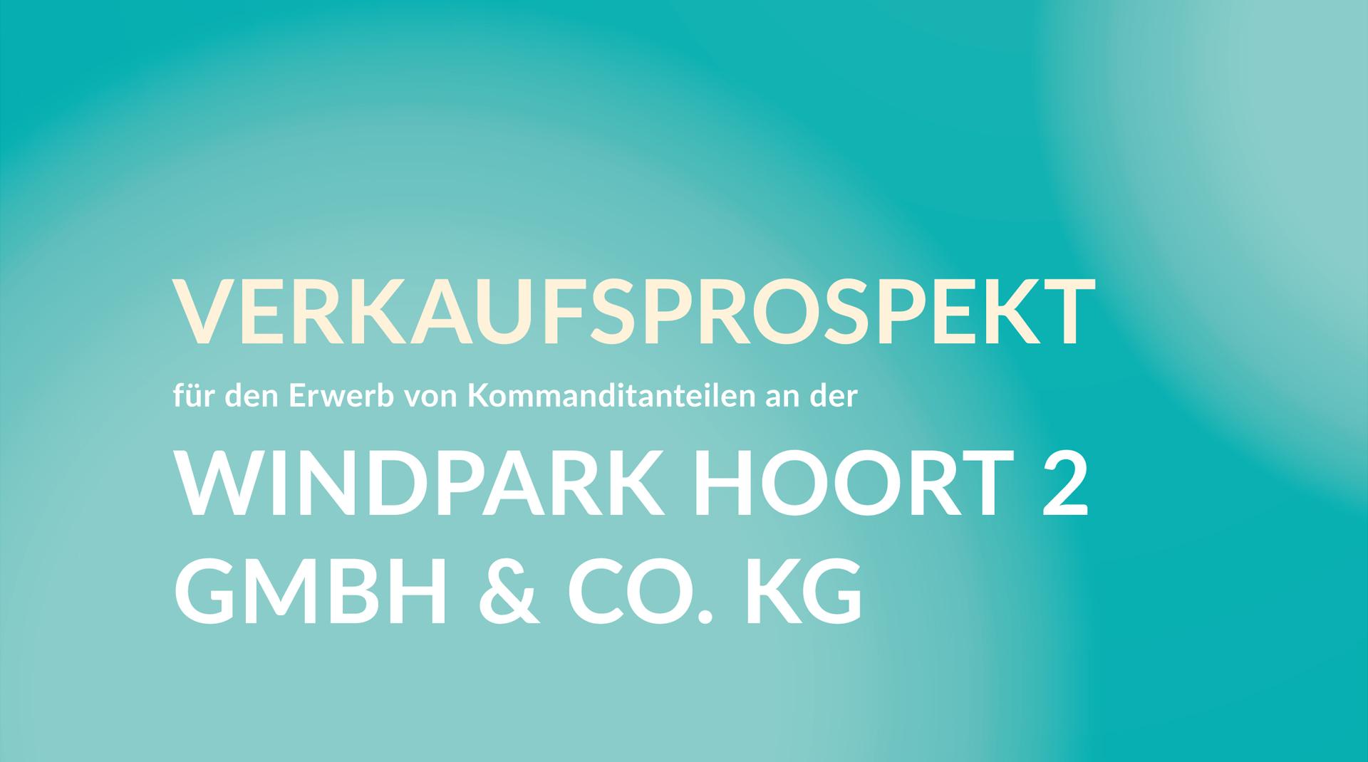 Ausschnitt des Titels des Verkaufsprospekts Windpark Hoort 2